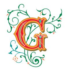 Illustration of Beautifully decorated English alphabets, letter G vector art, clipart and stock vectors. Alphabet G, English Alphabet Letters, Monogram Alphabet, Fancy Letters, Floral Letters, Creative Lettering, Hand Lettering, Letter Vector, Letter G