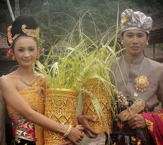 Balinese bride and groom in Kintamani, Bali, Indonesia