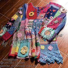 Crochet tunic blouse top Pullover Gypsy Boho Freeform