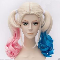 Harley Quinn Cosplay Full Wig Synthetic Hair Curly Pink Blue Blonde Costume