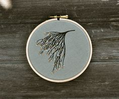 mixed media embroidery hoop  Branch Bouquet III