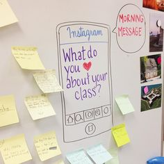 One consistent shape for whiteboard messages, with the message changing daily. Good place to start small.