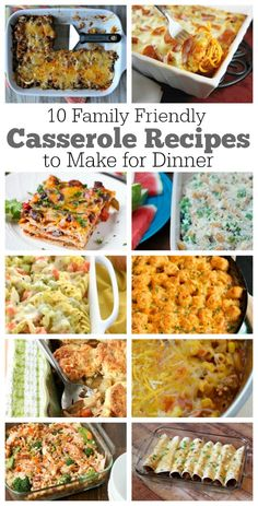 10 Family Friendly Casserole recipes to make for tonight's dinner. Great dinner ideas- these are things your family will eat and enjoy!  Things like Beef Burrito Casserole, Pizza Spaghetti Casserole, Teriyaki Chicken Casserole, Chicken Noodle Soup Casserole and more!