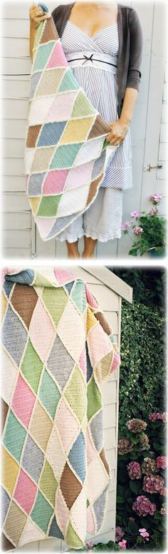 """Coco Rose's """"Harlequin"""" blanket, from Wood & Wood Stool's pattern #crochet #afghan #throw"""