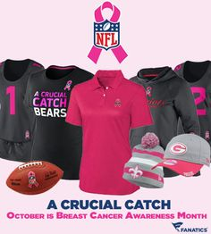 Support A Crucial Catch. Join the NFL in the fight against breast cancer with official NFL Breast Cancer Awareness products: http://pin.fanatics.com/pages/FF_NFL_Breast_Cancer_Awareness/source/pin-nfl-bca-gear-sclmp