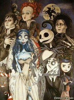 Collage of Tim Burton movies.