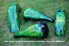 Skulls custom motorcycle airbrush art by Henry Gerson of Daytona-Airbrush...check us out on facebook!