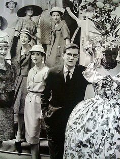 Yves Saint Laurent with mannequins of Maison Dior, 1958