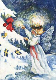 on Santa Lucia Day In Scandinavia on the 13 th of December people celebrate Lucia . People arrange processions with a Luci. Santa Lucia, St Lucia Day, Christmas Past, Christmas Angels, Sweden Christmas, Christmas Tables, Xmas, Vintage Christmas Cards, Vintage Cards