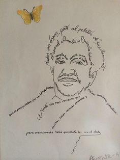 A los fan de Gabo, encontré su retrato delineado con las palabras del primer párrafo de Cien Años De Soledad. pic.twitter.com/2mxmnaBZHP