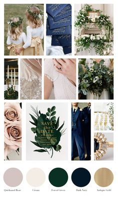 Colour Palette: Quicksand Rose, Cream, Forest Green, Dark Navy, and Antique Gold Green Gold Weddings, Navy Wedding Colors, Wedding Color Schemes, Wedding Colour Palettes, Winter Wedding Colors, Color Palettes, Wedding Mood Board, Just In Case, Wedding Inspiration