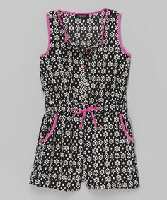 Look at this Squeeze Black & Pink Tribal Button Romper - Girls on #zulily today!