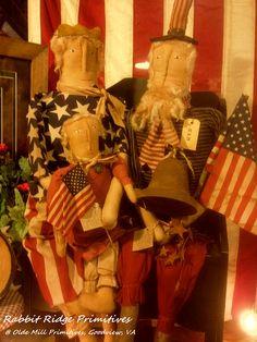 Uncle Sam and Lady Liberty by Rabbit Ridge Primitives @ Olde Mill Primitives, Goodview, VA  (Rabbit Ridge Primitives is on Facebook)
