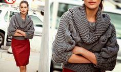 Tricô + Crochê: Blusa Cinza de tricô - Receita e gráfico