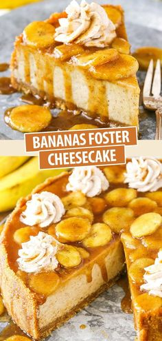 This Bananas Foster recipe is made with a thick and creamy banana brown sugar filling, cinnamon cookie crumb crust and bananas foster topping! It's a wonderful combination of bananas, cinnamon, brown sugar and rum that makes the most AMAZING cheesecake! Banana Foster Cheesecake Recipe, Banana Pudding Cheesecake, Best Cheesecake, Easy Cheesecake Recipes, Easy Cookie Recipes, Baking Recipes, Cheesecake Squares, Pudding Cake, Banana Foster Recipe