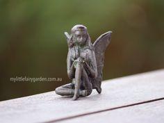 Scarlet - The Iron Fairies My Little Fairy Garden My Fairy Garden, Fairy Art, Sculptures, Lion Sculpture, Faeries, Scarlet, Pottery, Iron, Statue