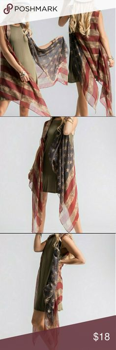 "COMING BACK SOON Festival Ready Flag Shawl Vest Get festival ready and show your pride with the stylish distressed American flag shawl vest. 39""x 71"". Not Free People (marked FP for exposure only). While supplies last. Free People Accessories"