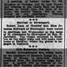 Robert Leon Married Houston Post 15 May 1913 pg 5
