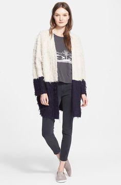 Fuzzy Two-Tone Oversize Cardigan