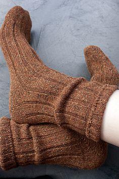Simple comfy brown wool socks