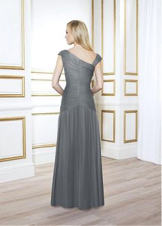 Charming Tulle Sheath Asymmetric Neckline Floor-length Mother of the Bride Dresses