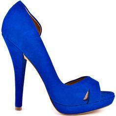 You'll slip into bliss with this bright style by L.A.M.B.  Italia delivers a luxe leather upper in a eye pleasing cobalt blue.  Two slight slits adorn the vamp while a 5 inch heel and 3/4 inch platform give height to this beautiful D'orsay.