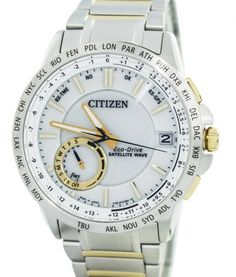 Discounted affordable on Citizen Eco-Drive Satellite Wave World Time Japan Made Men's Watch has Made In Japan, Stainless Steel Case, Two Tone Stainless Steel Bracelet, Eco-Drive Movement, Caliber: Sapphire Crystal Stainless Steel Bracelet, Stainless Steel Case, Rolex Watches, Watches For Men, Daylight Savings Time, Citizen Eco, Watch Sale, Watches Online, Waves