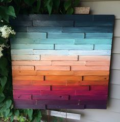 Relax and enjoy this sunset view. I use strips of wood to create the texture and movement in this abstract art piece. It is painted and distressed