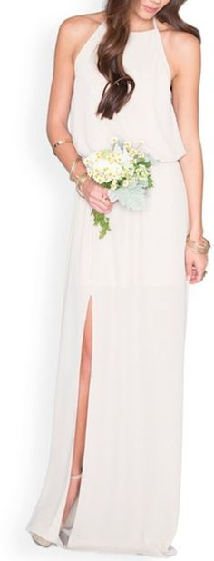 Show Me Your Mumu Show Me Your Mumu 'Heather' Chiffon Halter Gown available at Bridesmaid Halter Gown, Chiffon Gown, Wedding Attire, Wedding Gowns, Fall Wedding, Dream Wedding, Beautiful Bridesmaid Dresses, Affordable Wedding Dresses, A Line Gown