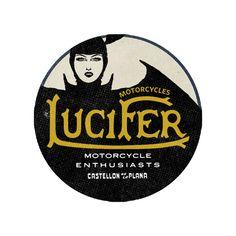 Sticker Lucifer Motorcycles x Lorenzo (Aristocratic Motorcyclist) : Alas Negras o Madame Lucifer Motorcycle Shop, Motorcycles, Typography, Stickers, Deco, Classic, Artwork, Letterpress, Derby