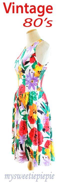 Unworn Vintage Dress 80s Smocked Princess Bright Floral Basque