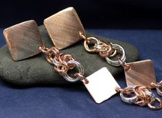 Long Clip On Earrings Chainmail Copper Silver Paddle Clip