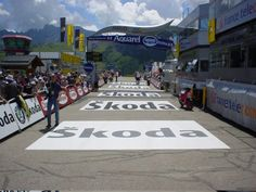 Skoda's signage is prominent at this event using Asphalt Art #sportsgraphics