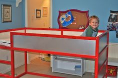 IKEA Kura bed ..  like the spray painting red, and use of black board paint.  Also the added steering well for fire truck) and lights underneath.