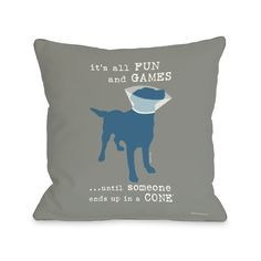 Its All Fun and Games Grey Throw Pillow (26 x 26 Pillow), Multi, Size Specialty (Polyester, Animal)