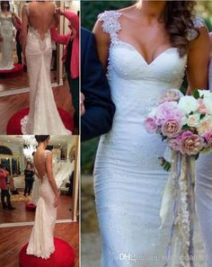Fantastic 2014 Backless Lace Wedding Dresses Beads Mermaid Mermaid Wedding Dresses | Buy Wholesale On Line Direct from China