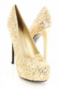 Sequin gold heels