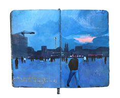 Beautiful Travel Landscapes Painted in Moleskine Notebook by Missy H. Dunaway.