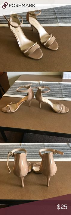 Nine West Nude Heels Shiny, nude Nine West Heels, Size 8 1/2, good condition, wore twice, little scuff on front left shoe and little scuff on back left shoe. Bought original for $79. Nine West Shoes Heels