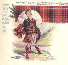 Clan FRASER Unused UDB Antique Postcard Badge by TheOldBarnDoor
