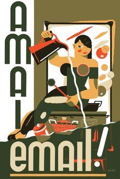 Campagnebeeld expo AMAI EMAIL! De Belgische emailindustrie.  Illustratie Jan Van der Veken