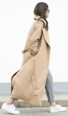 Laura Dittrich + long coat trend + camel + hottest colours + grey slacks + fresh white sneakers + utterly chic  Coat: COS, Turtleneck: Zara, Sneakers: Acne.