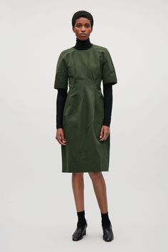 COS image 1 of Short sleeve Dress with Seams in Dark Green