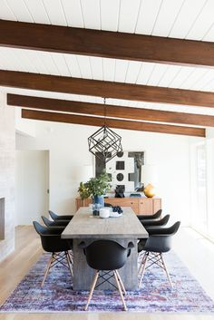 Midcentury modern dining space