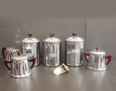 French Chrome Plated Copper Set of 7. Chrome Canisters Sugar