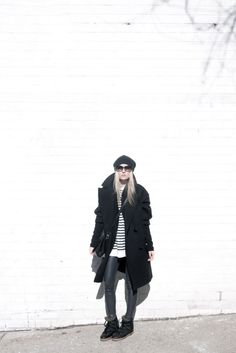 figtny.com | outfit • 18 Isabel Marant for h&m wool coat and Nowles boots / Aritzia Daria legging / Alexander Wang striped tee