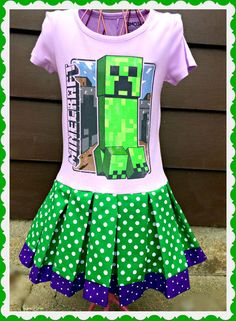 girls Minecraft dress Calling all Minecraft fans!!! This dress will be a sure classroom favorite....as everyone loves Minecraft... 4/5 6/6X