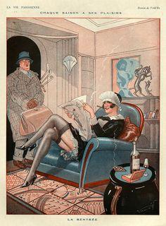 Vald'Es (Valvérane & D'Espagnat). La Vie Parisienne. Note maid is reading LVP issue 7 March 1925 with a Georges Léonnec (1881 – 1940) cover. [Pinned 17-v-2015]