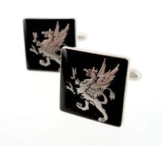 Silver Winged Griffin Cufflinks    Raised silver griffin cufflinks with a hand set, black enamel background.  Sterling silver plated.  Hand made in Canada.