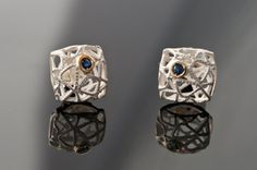 Delicate Sterling Silver & Gold Square earrings with by AlexDeHaro, $75.00